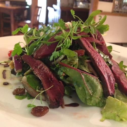 Food and wine steak salad